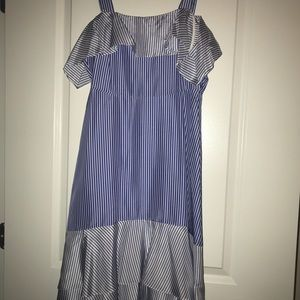 Blue and white striped cold shoulder silk dress